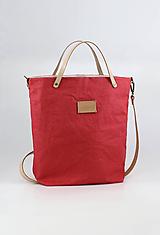 """Kabelky - Veľká kabelka z nepremokavého červeného ľanu """"Casual Geranium"""" - 11056195_"""