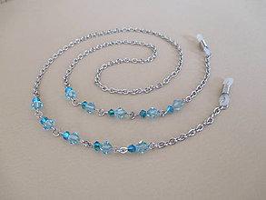 Iné šperky - Swarovski - retiazka na okuliare - chirurgická oceľ - svetlomodrá/aquamarine - 11054786_