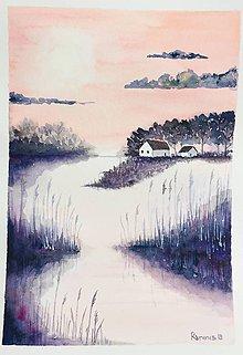 Obrazy - originál akvarel Večer pri jazerách - 11054235_