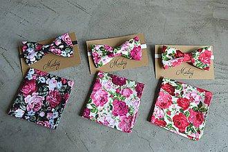 Doplnky - motýlik + vreckovka kvet (Červená) - 11057527_