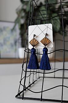 """Náušnice - Strapcové náušnice - modré """"NeoGeo"""" - 11057277_"""