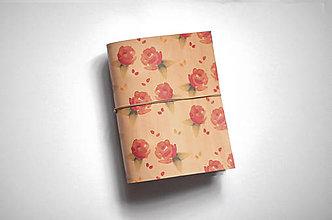 Papiernictvo - Kožený zápisník - ruža - 11057317_