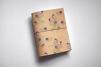 Papiernictvo - Kožený zápisník - čučoriedky - 11057318_