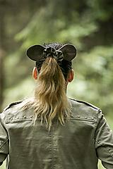 Ozdoby do vlasov - Ľanová scrunchie - hnedá myška Hryzka - 11054017_