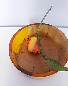 Nádoby - Miska platan+oranžová živica - 11054079_