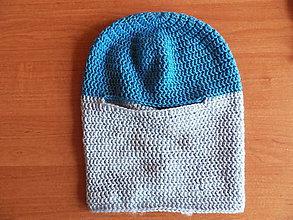 Detské čiapky - Háčkovaná detská lyžiarska kukla z merino priadze - modrá - 11053963_