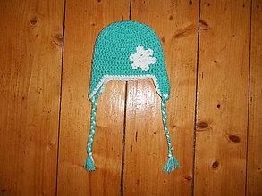 Detské čiapky - Detská háčkovaná zimná čiapka so snehovou vločkou - 11054068_