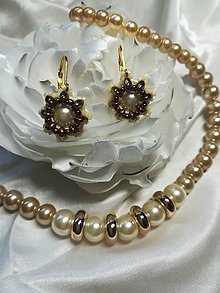 Sady šperkov - Perlový náhrdelník s náušnicami - zlatokrémový - 11057084_