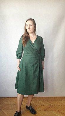 Šaty - Šaty lněné , zavinovací - 11057245_