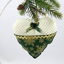 Úžitkový textil - KORNÉLIA - Zlaté vločky na zelenej s bodkami -  dekoračné srdiečko 13x13 - 11057475_