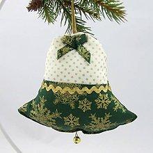 Úžitkový textil - KORNÉLIA - Zlaté vločky na zelenej s bodkami - dekoračný zvonček 13x13 - 11057494_