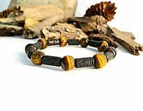 Pánsky náramok z prírodných minerálov - láva + tigrie oko