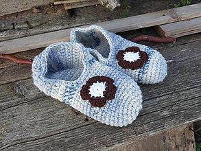 Obuv - vlnené papuče v modrom č.38-39 - 11057250_