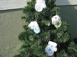 Dekorácie - Vianočné rukavičky (Strieborná) - 11056860_