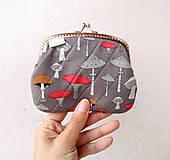 Peňaženka XL Hríbiky šedé