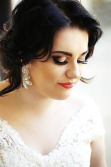 Náušnice - Svadobné náušnice s krajkou - 11057141_