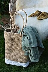 Veľké tašky - Vysoká jutová taška alebo košík - 11057433_
