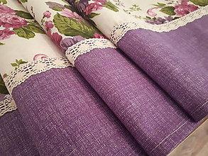Úžitkový textil - Stredový obrus  (Kytice - fialová kombinácia) - 11058256_