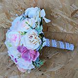 Kytice pre nevestu - Svadobná sada pastelová ružová, marhuľová - 11059382_