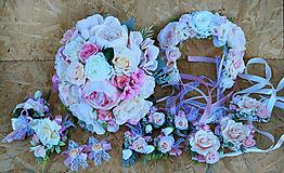 Kytice pre nevestu - Svadobná sada pastelová ružová, marhuľová - 11059385_