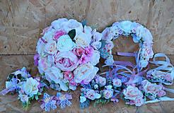 Kytice pre nevestu - Svadobná sada pastelová ružová, marhuľová - 11059386_