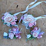 Kytice pre nevestu - Svadobná sada pastelová ružová, marhuľová - 11059497_