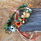 Ozdoby do vlasov - Venček s bobuľkami a margarétkami, oranžový, jesenný - 11061015_