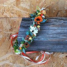 Ozdoby do vlasov - Venček s bobuľkami a margarétkami, oranžový, jesenný - 11061014_