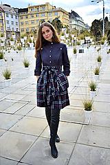 Sukne - Zavinovací sukně ANJA, káro tmavě šedé - 11058515_