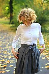 Sukne - Zavinovací sukně ANJA, šedý tvíd - 11059050_