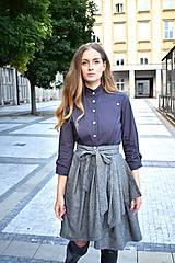 Sukne - Zavinovací sukně ANJA, šedý tvíd - 11059052_
