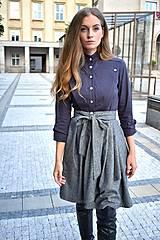 Sukne - Zavinovací sukně ANJA, šedý tvíd - 11059053_