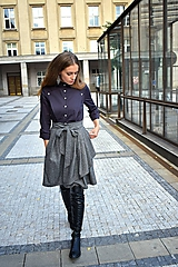 Sukne - Zavinovací sukně ANJA, šedý tvíd - 11059055_