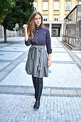 Sukne - Zavinovací sukně ANJA, šedý tvíd - 11059056_