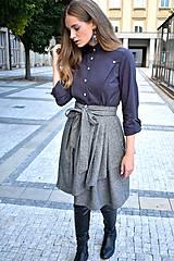 Sukne - Zavinovací sukně ANJA, šedý tvíd - 11059057_