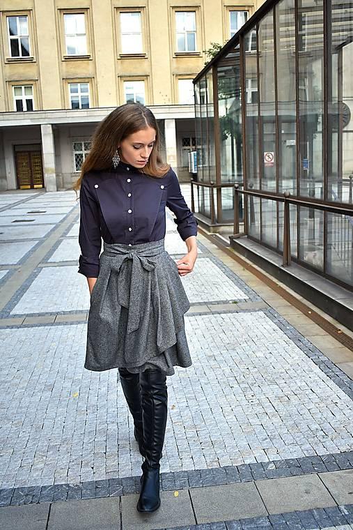 Zavinovací sukně ANJA, šedý tvíd