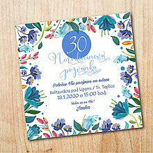 Papiernictvo - Narodeninová pozvánka - Modré poľné kvety - 11058707_
