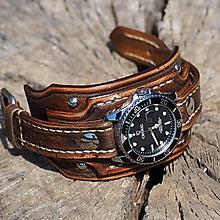 Náramky - Vintage svetlé kožené hodinky II - 11061005_
