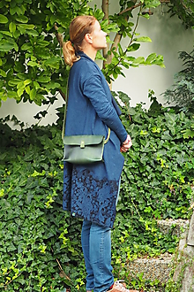 Kabelky - Mini kožená kabelka MontMat z kolekce Slim-zelená - 11058142_