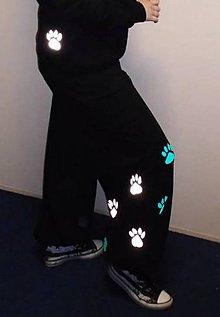 Nohavice - Tanečné tepláky s tlapkami mint + reflex.. - 11060788_