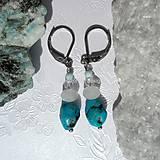 Náušnice - Náušnice s tyrkysem, měsíčním kamenem, topazem a larimarem - 11059123_