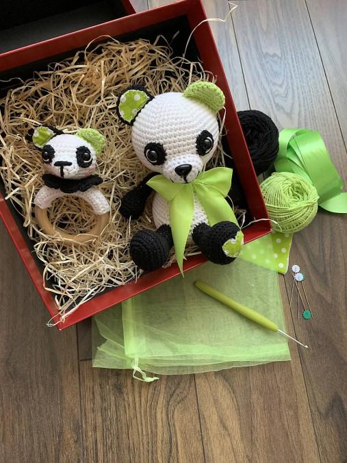 Panda Srdiečko s hrkálkou - SET