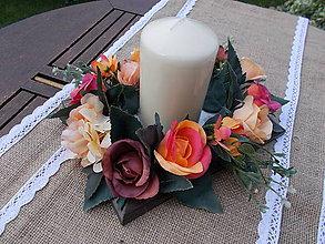 Dekorácie - Svietnik s kvetmi - 11058552_