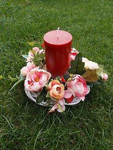 Dekorácie - Svietnik s kvetmi - 11058716_