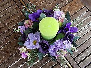 Dekorácie - Svietnik s kvetmi - 11058939_