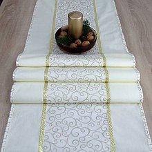 Úžitkový textil - NIKITA - zlatý krútený vzor na maslovej - stredový obrus 160X40 - 11058054_