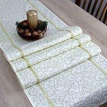 Úžitkový textil - NIKITA - zlatý krútený vzor na maslovej - behúň - 11058081_