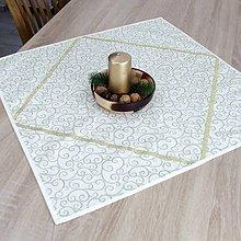 Úžitkový textil - NIKITA - zlatý krútený vzor na maslovej - obrus štvorec 65x65 - 11058094_