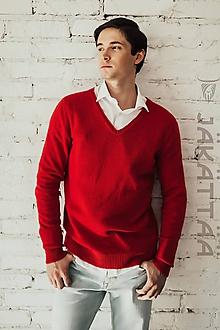 Svetre/Pulóvre - Červený pánsky sveter - 100% kašmír - 11061022_