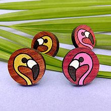 Náušnice - Náušničky - plameniaky /drevo/ (Ružová) - 11060165_